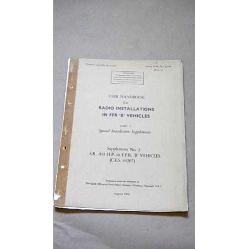 LARKSPUR USER HANDBOOK RADIO INSTALLATIONS IN FFR B VEHICLES  PART 6 SUPP 2
